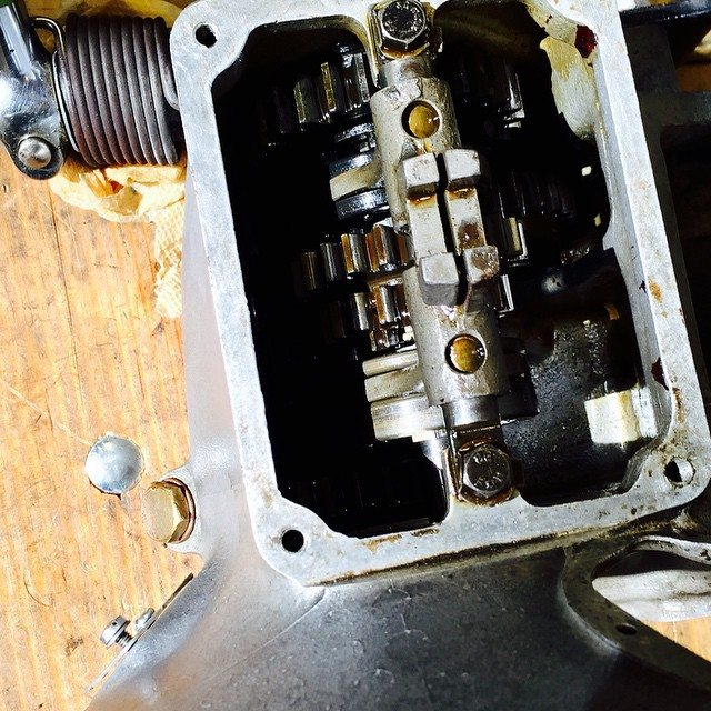 Working on the '37 gearbox today... I think I found some sludge in the bottom from the '50's :)