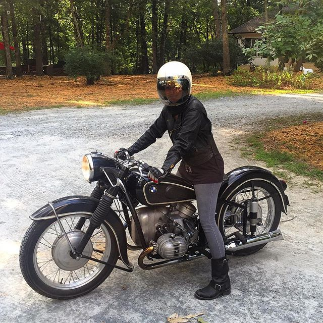 Great day for my missus @r51slash3 to take her '54 R51/3 out for a spin. #BMWVintage #bmwmotorcycle #womenwhoride