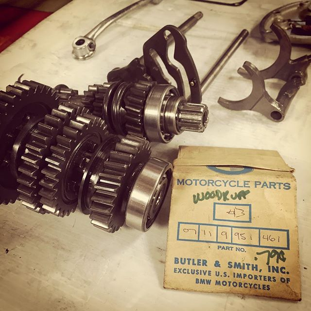 Found NOS (20yrs old) part to finish the '54 gearbox rebuild. @r51slash3 #butlerandsmith #handwrittenpartnumber
