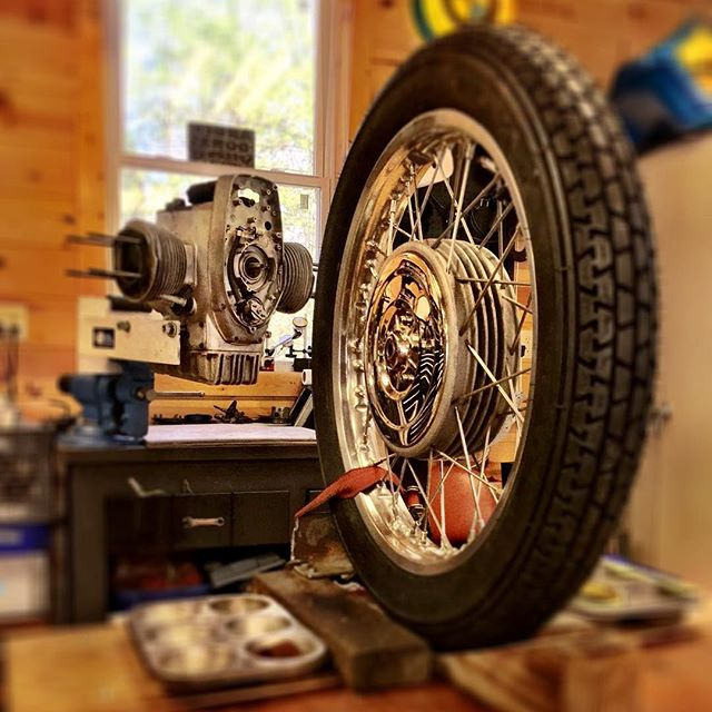 The journey of a thousand miles begins with one......wheel.  @oysterbamboo your R75/5 is officially on the lift. So far she's a quiet runner. :-) #vintagebmwmotorcycle  #motorcyclerestoration @billoyster @r51slash3