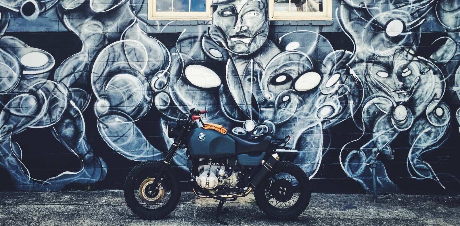 Rebuilt custom BMW motorcycle